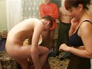 old & mature Birthday boy fucks his friend's mom with fellows