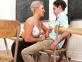 mature big tits Mature mom seduced student and pushed my legs wide for him in College...