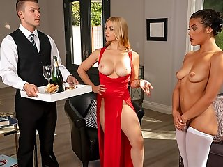 blonde big tits Blonde with big milkings arranged for mulattos and Butler group sex wi...