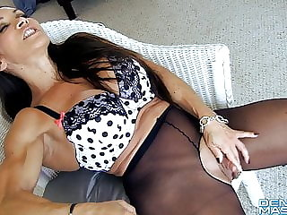 top rated fingering Open Sheer Tights Show Big Clit and Labia