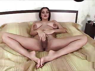 brunette babe Ukrainian hairy prostitute Latoya fingering alone