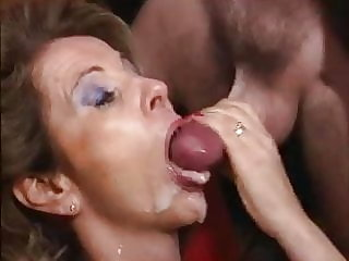 mature cumshot mature over 50 swallows cum