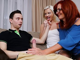 hairy big tits Mature mom persuaded a young couple to have a Threesome on the couch...